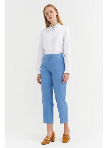BGN Mavi - Dikiş Detaylı Rahat Kesim Pantolon Mavi